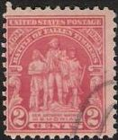 Red 2-cent U.S. postage stamp picturing the General Anthony Wayne Memorial