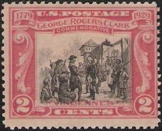 Red & black 2-cent stamp picturing George Rogers Clark at Vincennes