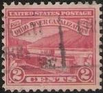 Red 2-cent U.S. postage stamp picturing canal locks on Ohio River