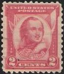 Red 2-cent U.S. postage stamp picturing General Casimir Pulaski