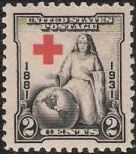 Black & red 2-cent U.S. postage stamp picturing nurse sitting beside Earth