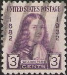 Purple 3-cent U.S. postage stamp picturing William Penn