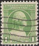 Green 1-cent U.S. postage stamp picturing George Washington
