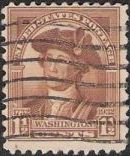 Brown 1-1/2-cent U.S. postage stamp picturing George Washington