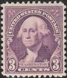 Purple 3-cent U.S. postage stamp picturing George Washington
