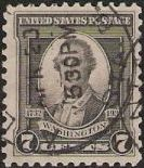 Black 7-cent U.S. postage stamp picturing George Washington