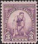 Purple 3-cent U.S. postage stamp picturing crouched sprinter