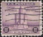 Purple 3-cent U.S. postage stamp picturing Federal Building in Chicago