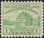 Green 1-cent U.S. postage stamp picturing Fort Dearborn