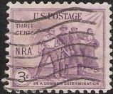 Purple 3-cent U.S. postage stamp picturing workers with tools