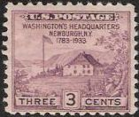 Purple 3-cent U.S. postage stamp picturing George Washington's headquarters at Newburgh, New York