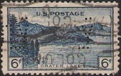 Blue 6-cent U.S. postage stamp picturing Crater Lake