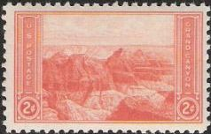 Orange 2-cent U.S. postage stamp picturing the Grand Canyon
