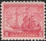 Red 3-cent U.S. postage stamp picturing two ships, the Ark and the Dove