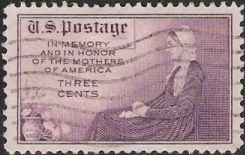 Purple 3-cent U.S. postage stamp picturing Whistler's mother