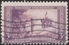 Purple 3-cent U.S. postage stamp picturing Jean Nicolet landing on the shores of Green Bay