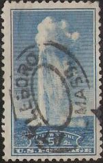 Blue 5-cent U.S. postage stamp picturing Old Faithful
