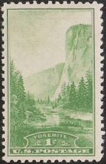 Green 1-cent U.S. postage stamp picturing Yosemite Valley