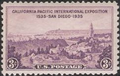 Purple 3-cent U.S. postage stamp picturing buildings