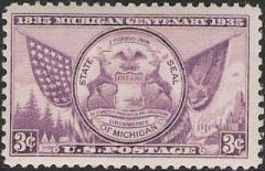 Purple 3-cent stamp picturing Michigan's state seal