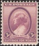 Purple 3-cent U.S. postage stamp picturing Susan B. Anthony
