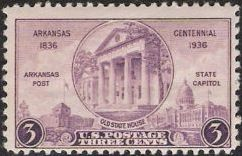 Purple 3-cent U.S. postage stamp picturing old Arkansas State House