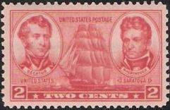 Red 2-cent U.S. postage stamp picturing ship, Stephen Decatur, and Thomas MacDonough
