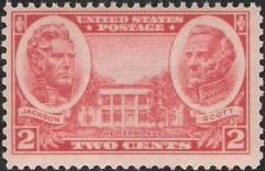 Red 2-cent U.S. postage stamp picturing The Hermitage, Andrew Jackson, and Winfield Scott