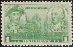 Green 1-cent U.S. postage stamp picturing ships, John Paul Jones, and John Barry
