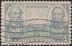 Gray 4-cent U.S. postage stamp picturing Stratford Hall, Robert Lee, and 'Stonewall' Jackson