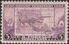 Purple 3-cent U.S. postage stamp picturing map of Oregon Territory