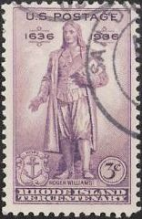 Purple 3-cent U.S. postage stamp picturing state of Roger Williams