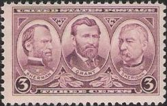 Purple 3-cent U.S. postage stamp picturing William Sherman, Ulysses Grant, and Philip Sheridan