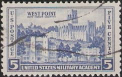Blue 5-cent U.S. postage stamp picturing U.S. Military Academy