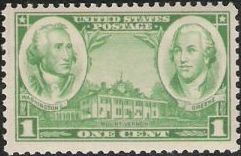 Green 1-cent U.S. postage stamp picturing Mount Vernon, George Washington, and Nathanael Greene