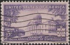 Purple 3-cent U.S. postage stamp picturing Vermont State Capitol