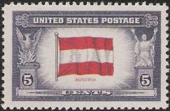 5-cent U.S. postage stamp picturing Austrian flag