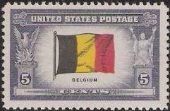5-cent U.S. postage stamp picturing Belgian flag