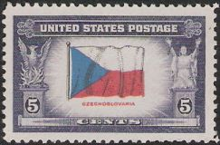 5-cent U.S. postage stamp picturing Czechoslovakian flag