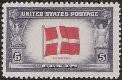 5-cent U.S. postage stamp picturing Danish flag