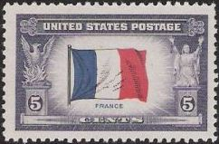5-cent U.S. postage stamp picturing French flag