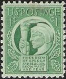 Green 1-cent U.S. postage stamp picturing Liberty