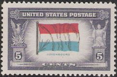 5-cent U.S. postage stamp picturing Luxembourger flag