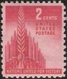 Red 2-cent U.S. postage stamp picturing hands holding swords
