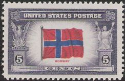 5-cent U.S. postage stamp picturing Norwegian flag