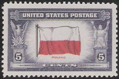5-cent U.S. postage stamp picturing Polish flag