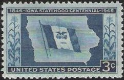 Blue 3-cent U.S. postage stamp picturing Iowa flag and outline of state