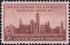 Red brown 3-cent U.S. postage stamp picturing Smithsonian Institution