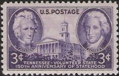 Purple 3-cent U.S. postage stamp picturing Tennessee state capitol, Andrew Jackson, and John Sevier