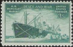 Green 3-cent U.S. postage stamp picturing ship at dock